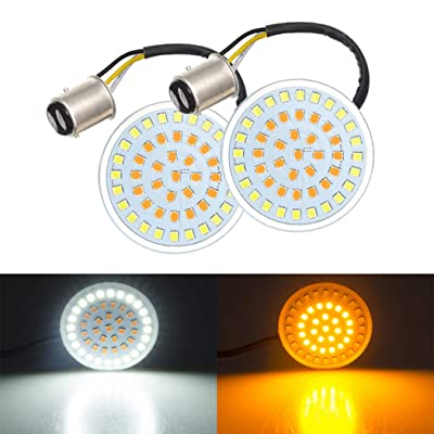 "LED Bullet Turn Signals Lights Bulb, 2"" Motorcycle Amber Front Turn Lights with White Running Light 1157 Insert Compatible for Harley Davidson Touring Softail Sportster Dyna Tri Glide: Automotive"