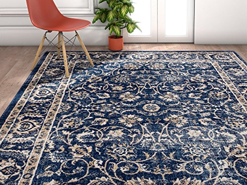 Well Woven AM-04-4 Amba Sonoma Traditional Distressed Oriental Blue Area Rug 3'11