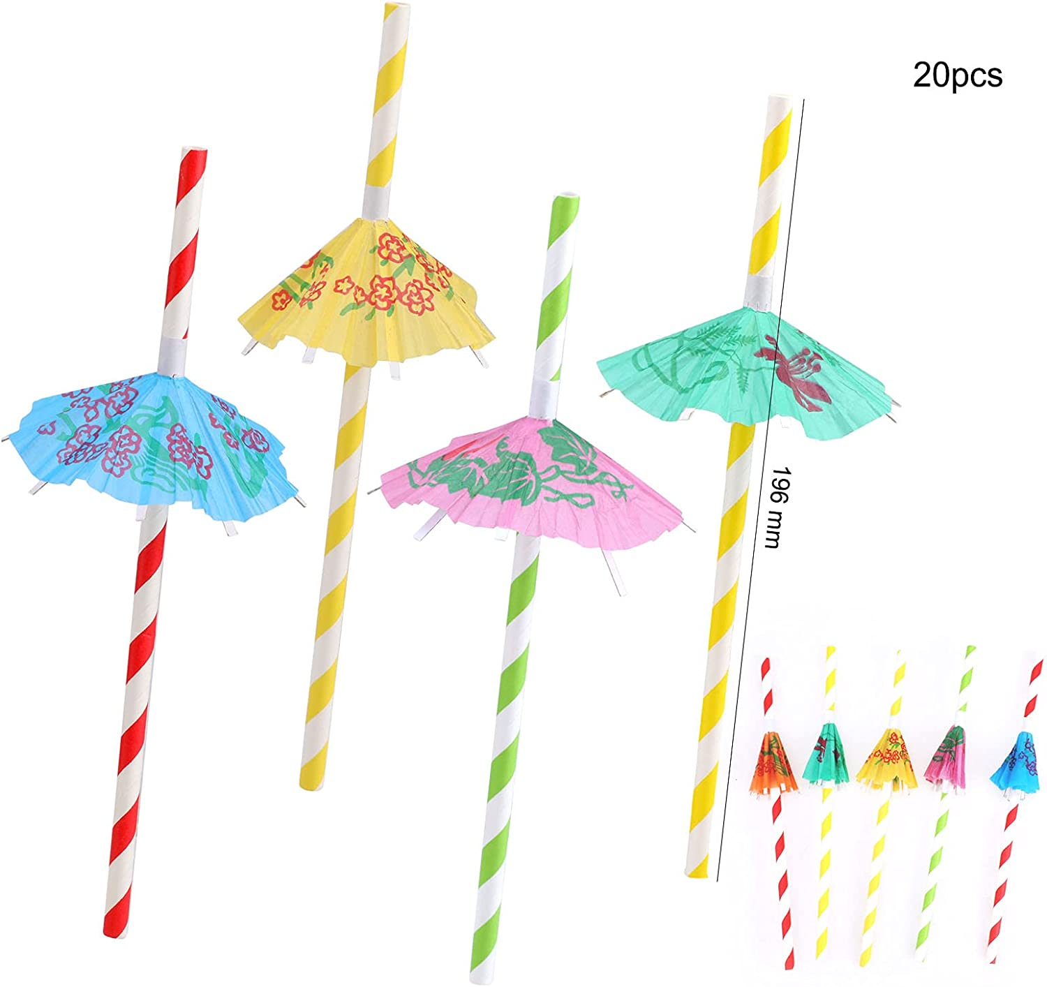 HOWAF 150Pcs Cocktail Party Decorations,Cocktail Fruit Label,Swizzle Sticks Paper Umbrella Sticks,Straws for Drinks Summer Party Drink Decorations Hawaii Tropical Party Decoration Cocktail Accessories