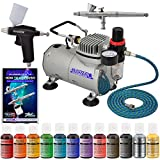 Super Deluxe Master Airbrush Twin(2) Airbrush Cake Decorating Airbrush Kit with 12 Chefmaster .7 Fl Oz Airbrush Food Color Set, Master Airbrush 1 Year Warranty Air Compressor and 6 Foot Air Hose and Now Includes a (FREE) How to Airbrush Training Book to G