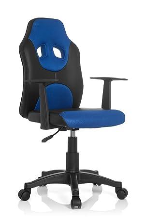 hjh OFFICE Kid Racer Al Silla Infantil, Piel_sintética, (Negro/Azul), 41x51x100 cm: Amazon.es: Hogar
