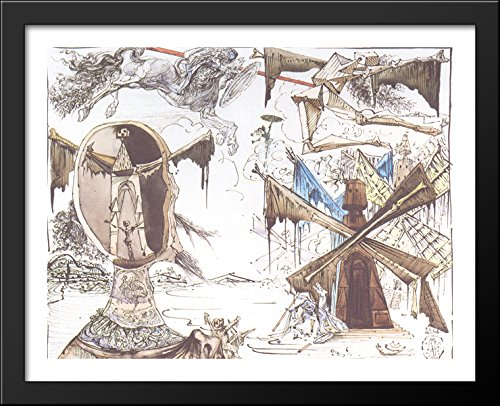 Don Quixote and the Windmills 36x28 Large Black Wood Framed Print Art by Salvador Dali