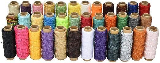 Hilo encerado de cuero 36 colores 50 metros/rollo 150D Kit de herramientas de artesanía de cuero DIY para coser a mano y a máquina: Amazon.es: Hogar