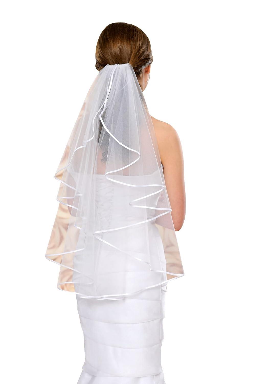 Brautschleier Hochzeitskleid 70 cm lang mit Satinkante - S4 Soft ...
