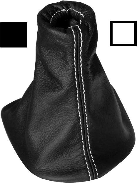Soufflet de Levier Vitesse Noir 100/% Cuir v/éritable Coutures Blanches AERZETIX