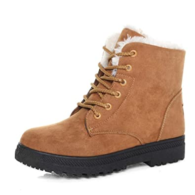 1209865e930 SHIBEVER Women Winter Warm Lace Up Cotton Snow Ankle Boots Flat Platform  Sneaker Shoes Brown 4.5