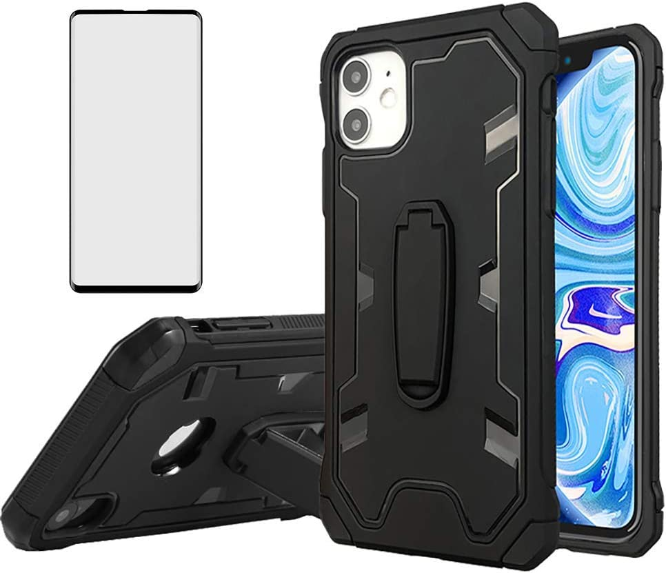 Asuwish Compatible with Samsung Galaxy S4 and Tempered Glass Screen Protector Cover Cell Accessories Stand Kickstand Rugged Hybrid Phone Cases for Galazy S 4 Gaxaly SIV 4s GT-I9500 I9500 GS4 Black