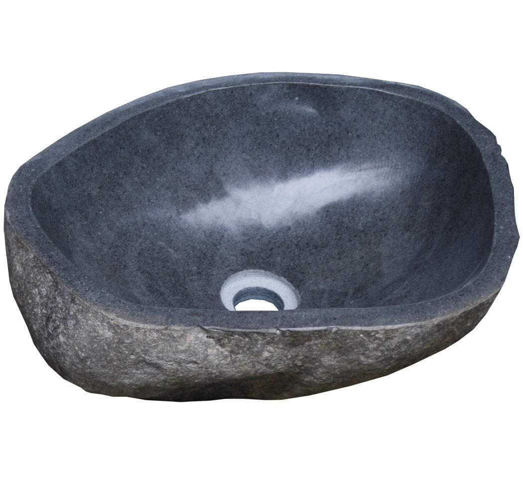 LioLiving/® Stone Vasque de lavabo en pierre # 400122 bloc erratique 35-46 cm