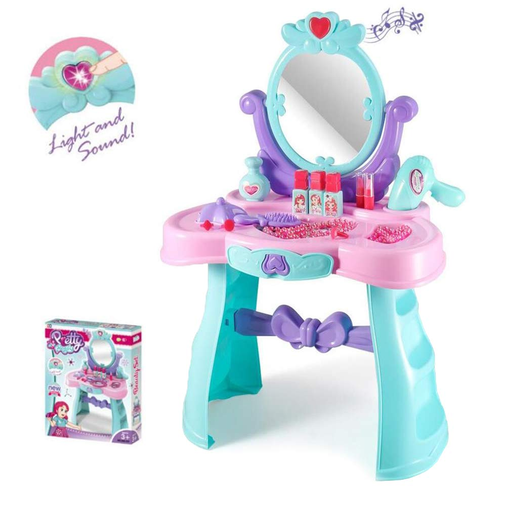 JFMBJS Home Toy Dresser for Girls, Children Pretend to Play Makeup Toy Set, Princess Vanity Table Interactive Toys Dressing Table