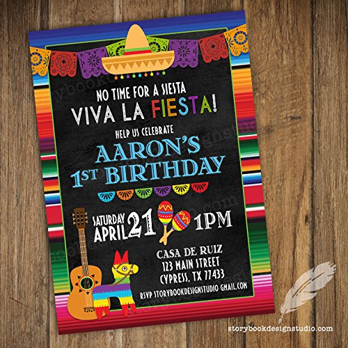 Fiesta Birthday Invitations (Set of 10) Envelopes Included Personalized