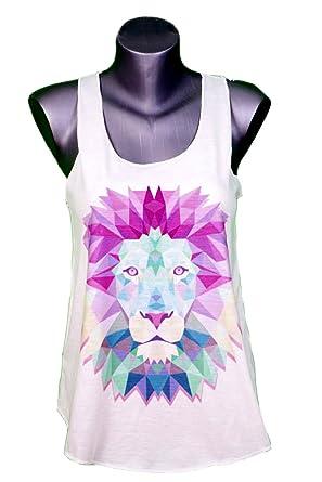 Debardeur Femme Imprime Lion Animal Illustration Graphique