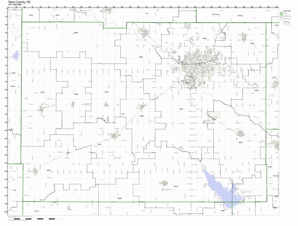 Amazon.com: Reno County, Kansas KS ZIP Code Map Not Laminated: Home ...