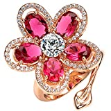 Mecoo Platinum-plated Flower Statement Adjustable Rings for Women 3.25ct Zicon Sea-bule & Pink-red Size 7.75 & 8.28 Girlfriend Gift
