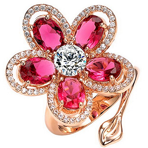 Mecoo Platinum-plated Flower Statement Adjustable Rings for Women 3.25ct Zicon Sea-bule & Pink-red Size 7.75 & 8.28 Girlfriend Gift by ME COO