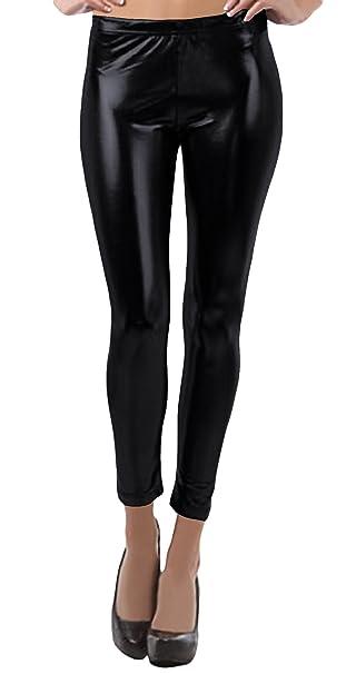 48001b9dcb331 VSVO Women's Metallic Wet Look Leggings at Amazon Women's Clothing ...