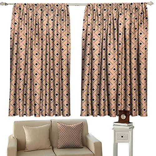 Argyle Thermal - WQCBT Argyle Thermal Insulated Blackout Curtains Diagonal-Stripes-and-Rhombuses-Geometric-Composition-Pastel-Colors 62