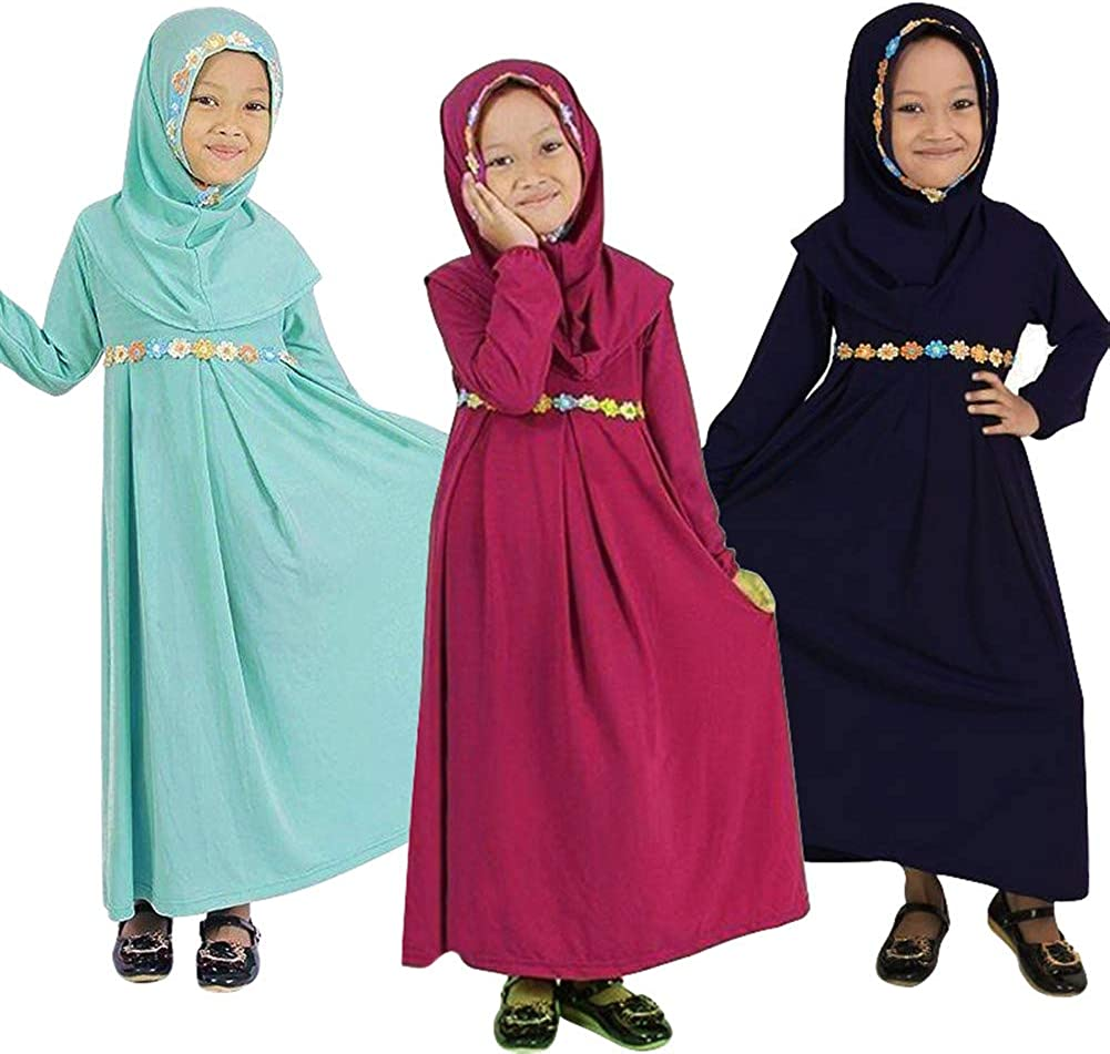 ❤️Rolayllove❤️ Long Muslim Dress Abaya Hijab Embroidered Colored Flowers Long Sleeve for Baby Toddler Girl