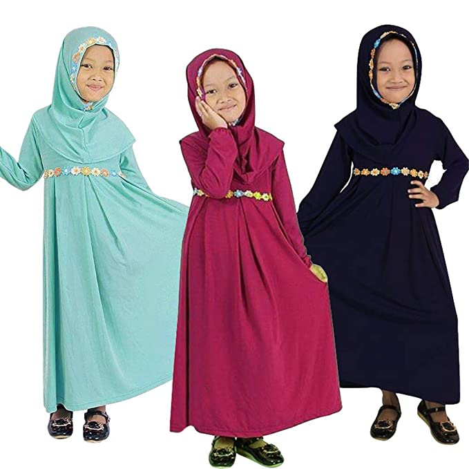 7386955529a5f Amazon.com: Islamic Long Muslim Dress - Abaya with Hijab Embroidered with  Colored Flowers - Long Sleeve - for Baby Toddler Girl: Clothing