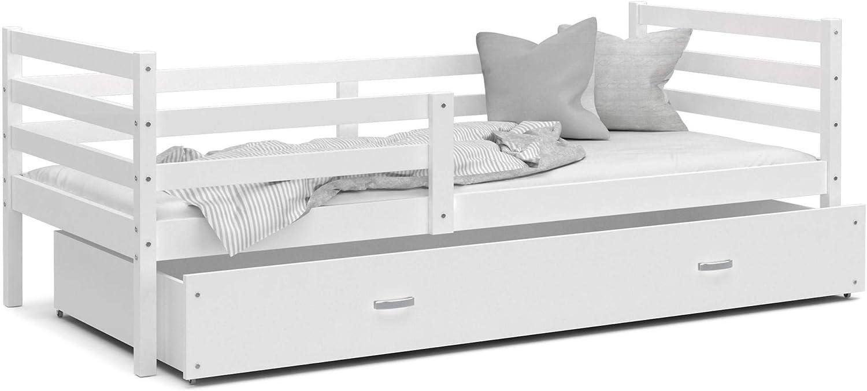 KIDS LITERIE Cama niño Milo 190 x 90 Color Blanco Incluye somieres, cajón y – colchón de Espuma de 7 cm.