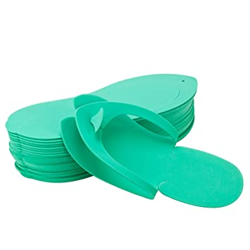 379429402d6 Image Unavailable. Image not available for. Color  Disposable Pedicure  Salon GREEN Flip Flop Slipper Nail Foam 12 Thong ...