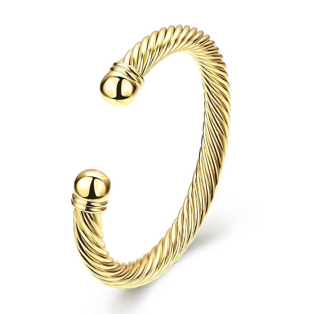 Zhiwen Simple Cuff Bracelet 18K Real Gold Platinum Plated Fine Bangle Bracelet Cable Wire Twisted Cuff Bangle Bracelets for Women Men by Zhiwen (Image #1)