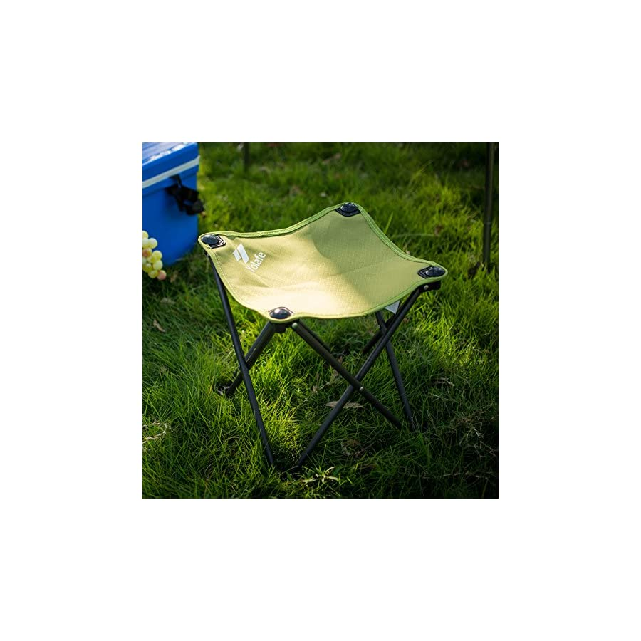 Folding Camping Stool, Portable Chair for Camping Fishing Hiking Gardening and Beach, Green Yellow Seat with Black Bag (1 Piece)