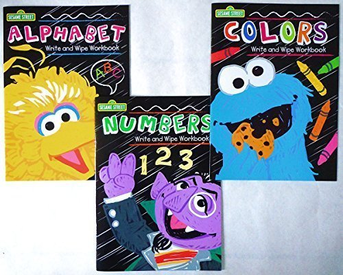 Set of 3 Sesame Street Write and Wipe Workbooks (Alphabet, Numbers, & Colors)