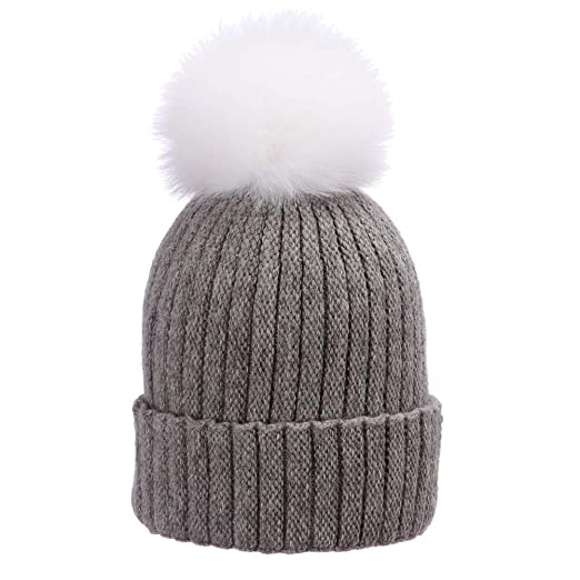590b08922cc Moon Kitty Womens Girls Wool Knit Beanie Hats Fure Pom Pom Winter Hat Skull  Caps for