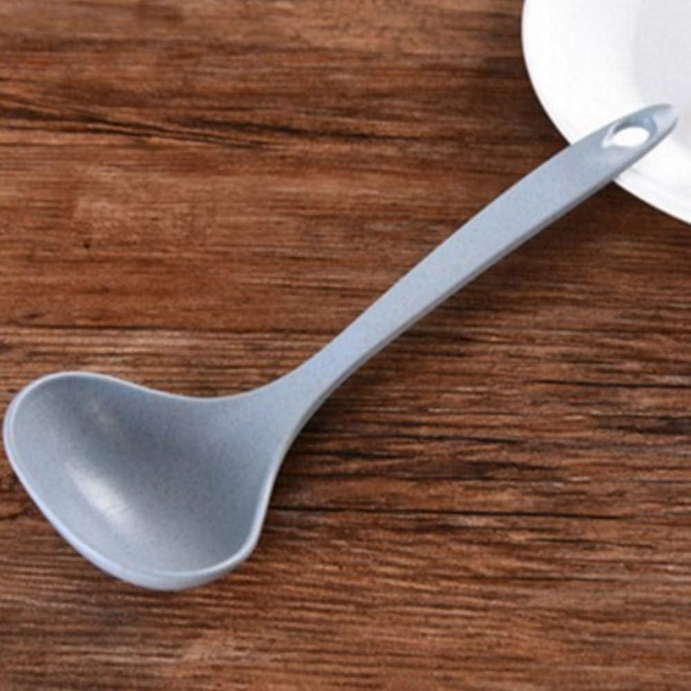 Big Cuill/ère /à soupe pour cuisine Paille de bl/é naturel Big Cuill/ère /à soupe Plastique Grande louches /à long manche Eco Friendly anti cass/é Cuill/ère pour la cuisine 10cm x 20cm x 10cm rose
