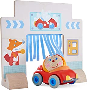 HABA Kullerbu Drive Thru Car Wash Accessory - with Red Convertible Car and Ball Hanni - Compatible with Any Wooden Railway