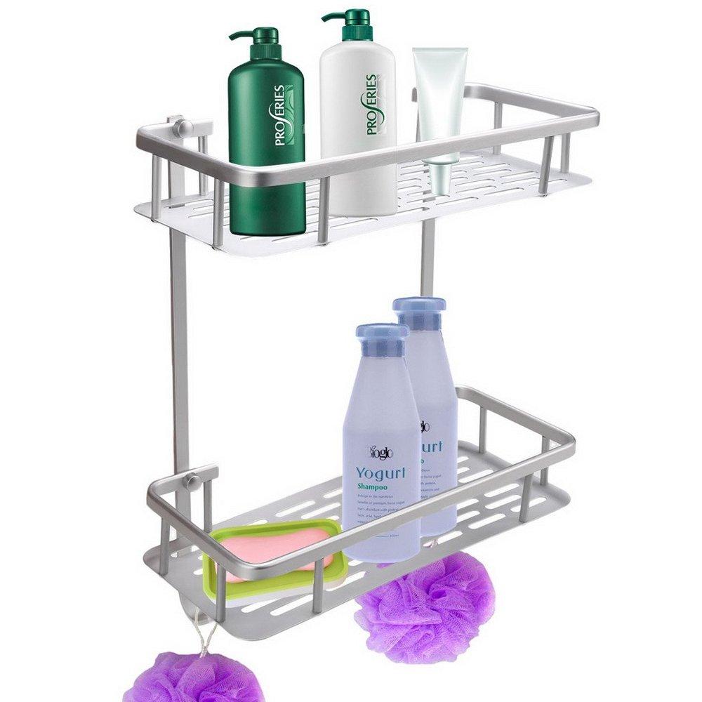 AIYoo Bathroom Shelf Anti-Rust Aluminum 2-Tier Wall Mount Bathroom Shelf Organizer with Hooks 12.4''x 5.5'' x 14'' Heavy Duty Shower Caddy Shelf Basket Storage rack for Bathroom Kitchen