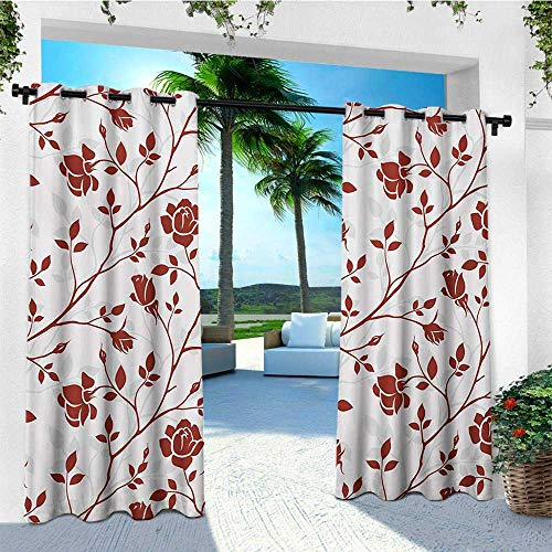 leinuoyi Floral, Sun Zero Outdoor Curtains, Monochrome Floral Arrangement Roses Leaves Branches Retro Environment Elements, Fabric W96 x L96 Inch Ruby Beige White ()