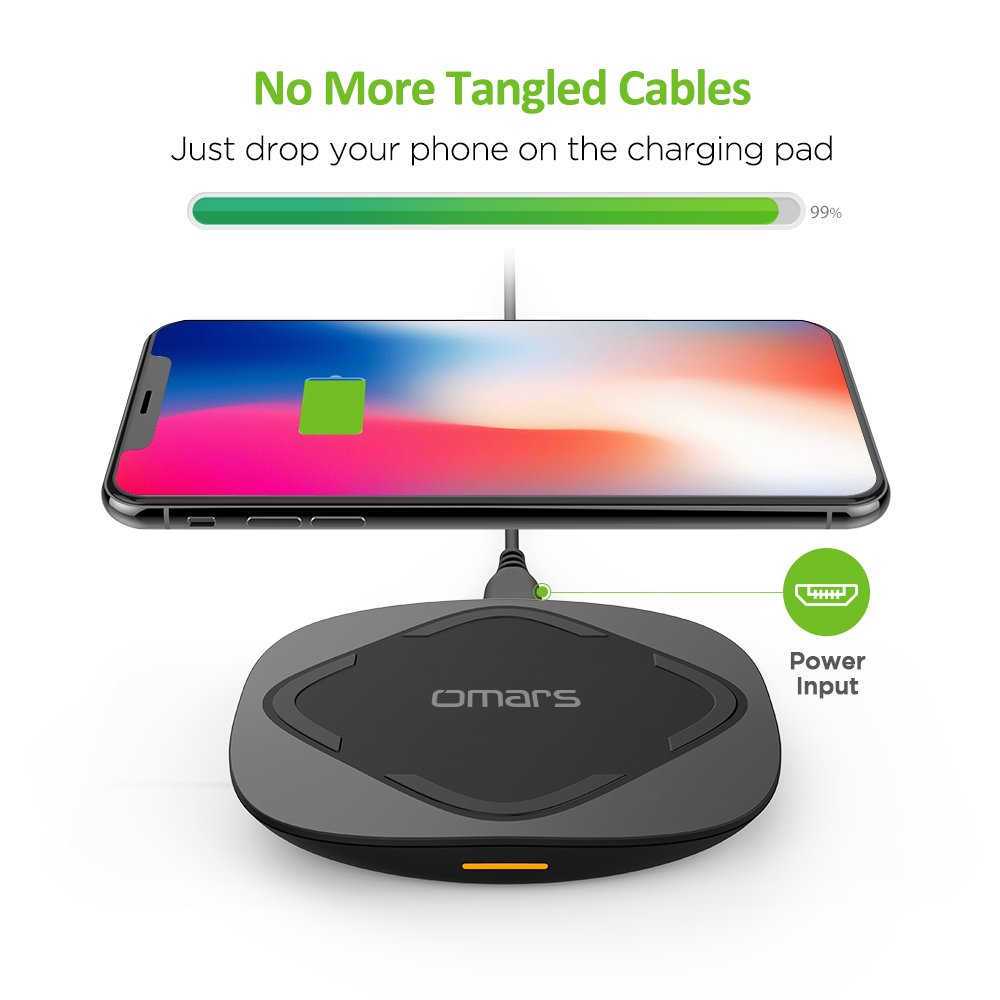 Omars Wireless Charger 15W, Fast Charging Pad with Anti-Slip Base for LG V30, iPhone X / 8/8 Plus, Samsung S8, S7, S7 Edge and other Qi-Enabled Devices