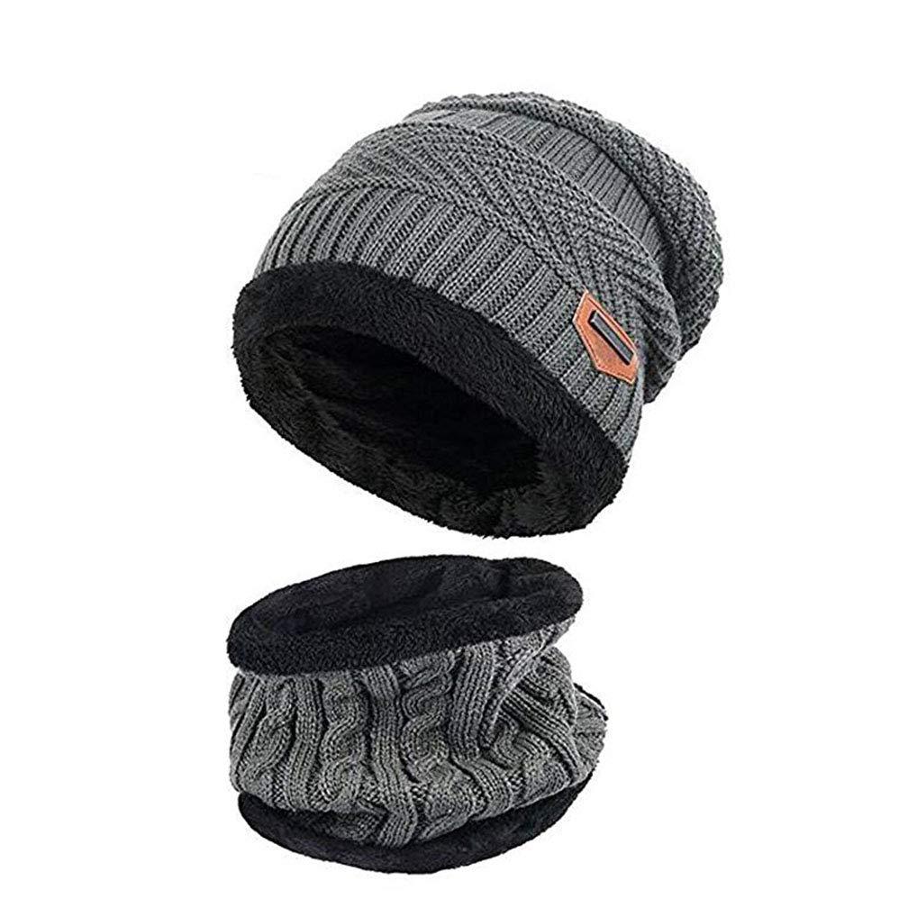 Berretto invernale per Bambini Berretto con Cappuccio Set caldo e spesso con cappuccio in teschio lavorato a maglia con fodera in pile per bambini