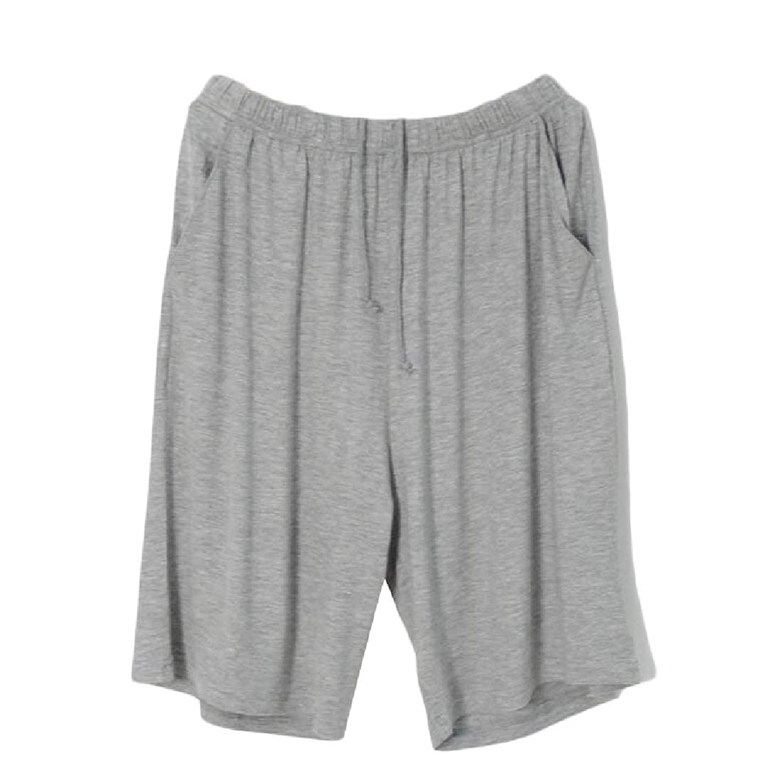 Pandapang Men Elastic Waist Plus Size Breathable Soft Lounge Shorts