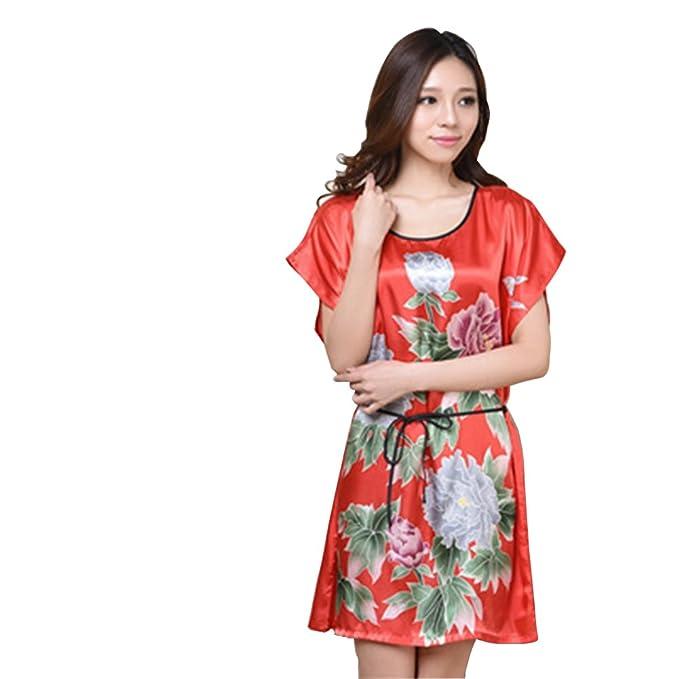 Free Fisher Mujer pijama ropa de dormir vestido de Flores, Rojo