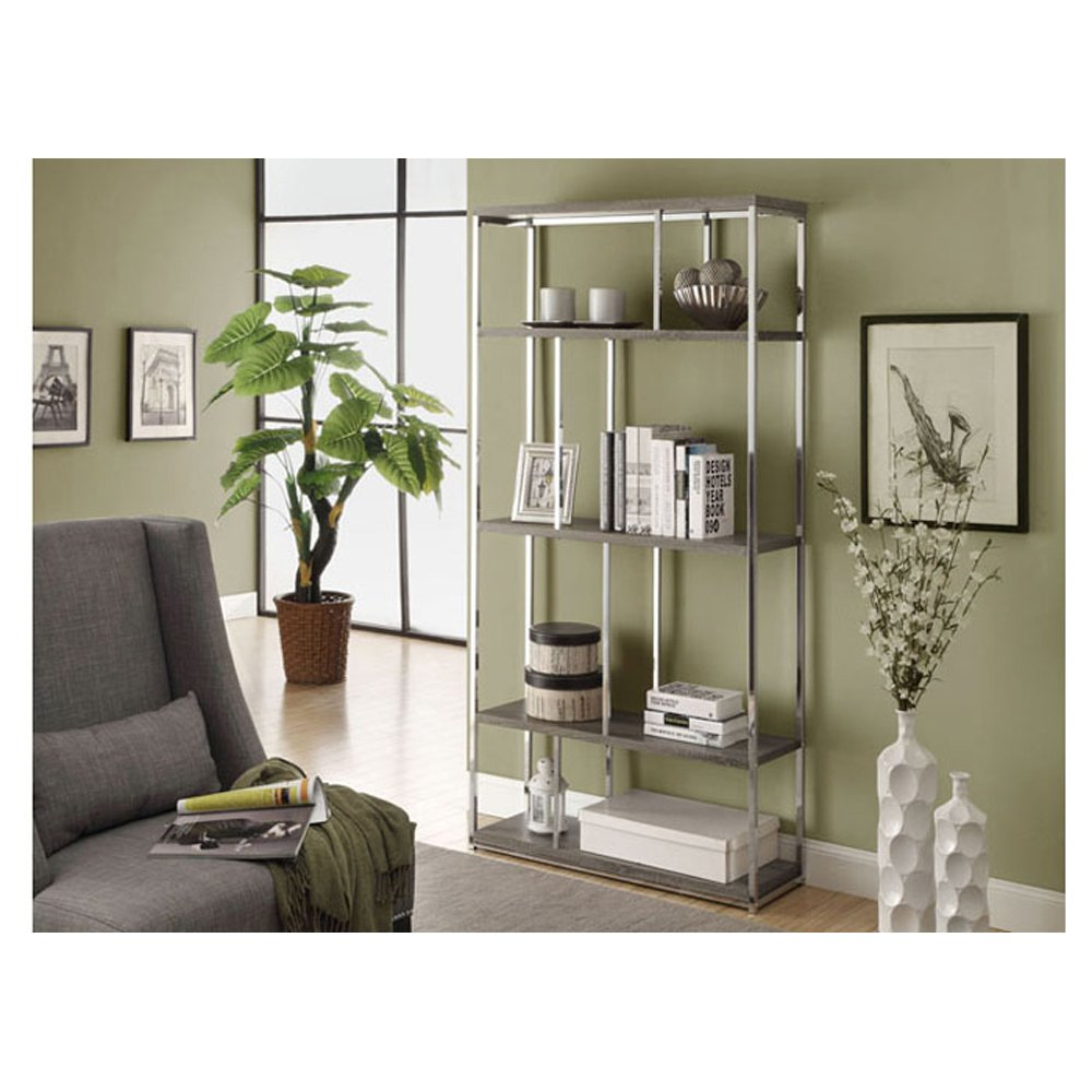 Amazon.com: Monarch Chrome Metal Bookcase, 72-Inch, Glossy White: Kitchen &  Dining - Amazon.com: Monarch Chrome Metal Bookcase, 72-Inch, Glossy White