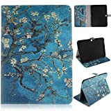 Tab 4 10.1 Inch Case,Dteck(TM) Magnetic Painting Pattern PU Leather Shockproof Flip Wallet Case Cover[Stand Feature][Card Slot]for Samsung Galaxy Tab 4 10.1 Inch SM-T530/T531/T535 (04 Pear Flower)