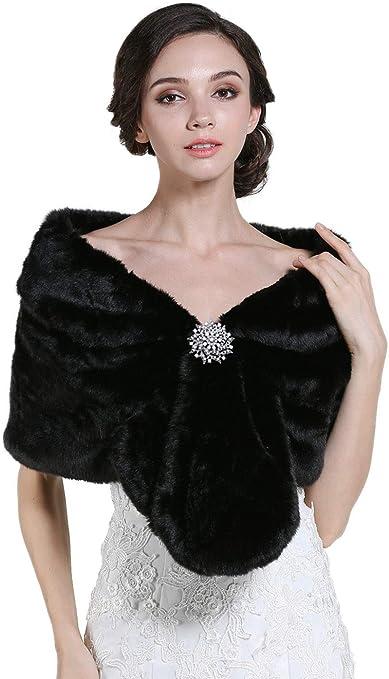 Scialle da donna in pelliccia sintetica anni 20 per matrimoni Zoestar