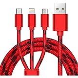 3in1 充電ケーブル, BUENTEK ライトニングケーブル/usb cタイプ 充電ケーブル/ Micro USB ケーブル3A急速充電 iOS / Android 同時給電可能 iPhone8 8 plus7 7 plus / 6 6s plus / iPad / Macbook 1本3役 多機種対応 1.2m レッド
