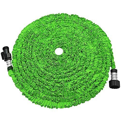 soled Expandable Garden Hose, 50ft Strongest Expanding Garden Hose on The Market with Triple Layer Latex Core & Latest Improved Extra Strength Fabric Protection for All Your Watering Needs(Green)