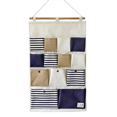 sfghouse rayas 13 bolsillos de pared para puerta armario para colgar organizador bolsa de almacenamiento