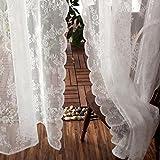 JOLIN Sheer Panels White Lace Curtains Living Room Shade Balcony Drapes