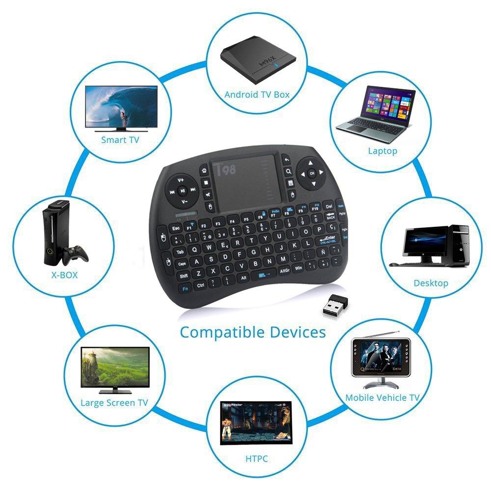 Zenoplige Mini Teclado inalámbrico Tastiera 2,4 GHz Diseño Español(con Ñ) Ratón Touch Ergonómico para Smart Android TV BOX, Mini PC, HTPC, Consola, ...
