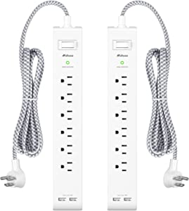 2 Pack Power Strip - 12FT Long Extension Cord, Surge Protector with 6 Outlets and 2 USB Charging Ports, Flat Plug Overload Protection, (1625W/13A/900J), Wall Mount for Home Office and Dorm, ETL Listed
