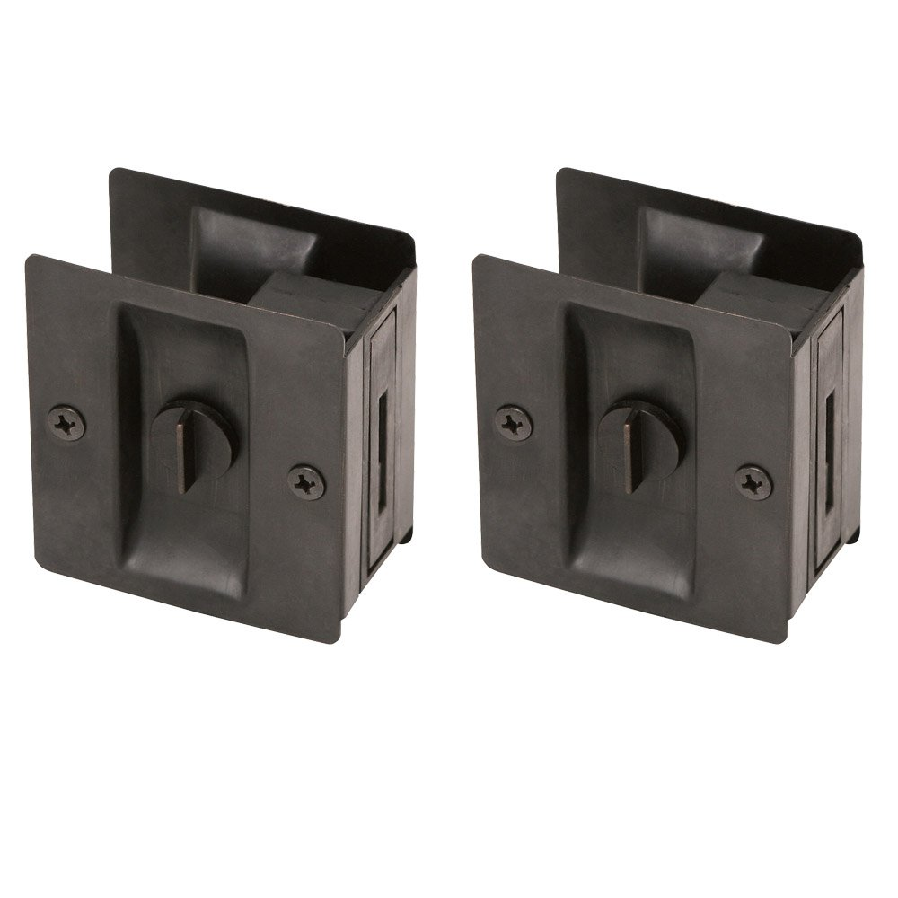Design House 182139 Pocket Door Bed and Bath Lock, 2-Pack, Oil Rubbed Bronze