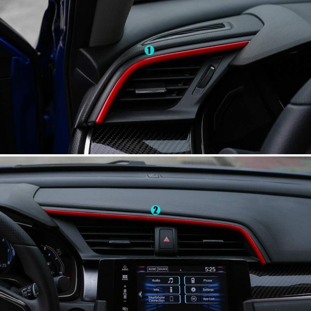 L/&U 2pcs Center Console Stickers Trims Air Vent Dash Panneau Conseil Bandes d/écalcomanies int/érieures pour 10 Gen Honda Civic 2016-2019,Rouge