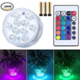 CHINLY Submersible LED Light, IR Remote Controller 10-LED RGB Waterproof Battery Powered Lights for Aquarium, Vase Base, Pond, Swimming Pool, Garden, Party, Weeding, Christmas, Halloween (1 Pack)