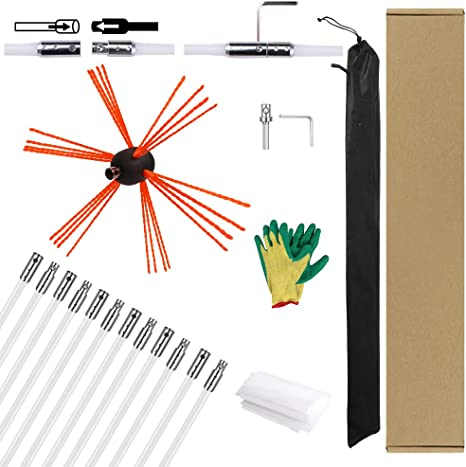TiKiNi Chimney brush,Chimney Brushes and Rods for Flue Sweep Brush Chimney Cleaning Sweep Kit Nylon Cleaning Tool Accessory