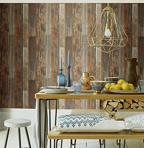 Birwall Faux Vintage Wood Panel Wallpaper Wall Mural for Walls, Large Size, 54 Square Ft/Roll (Wood) by BIRWALL WALLPAPER